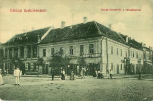 Gyulafehérvár, Alba Iulia; Novák Ferenc tér, városháza, Jakabffy Albert, Frei Adolf üzletei, W. L. 3150. / square, town hall, shops (EK)