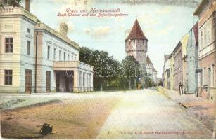 Nagyszeben, Hermannstadt, Sibiu; vártorony, Városi színház / tower, theater, Verlag Karl Graef (kis szakadás / small tear)