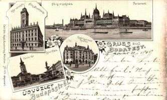 1898 Budapest, Régi városháza, országház, Kálvin tér, Carl Otto Hayd Kunstverlag, floral, litho