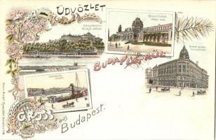 Budapest, Lánchíd, Margitfürdő, Nemzeti színház, Kunst Anstalt Rosenblatt, floral, Art Nouveau, litho