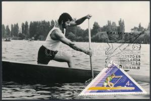 4 db MODERN evezős CM (Carte Maximum) lap / 4 modern rowing CM postcards