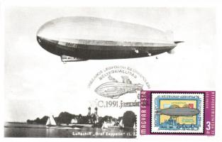 4 db MODERN repülős és léghajós CM (Carte Maximum) lap / 4 modern aeroplane and airship CM postcards