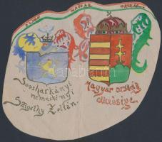Éljen Magyarország - akvarell-tus rajz címerekről, 17x18 cm