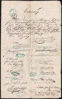 1859 Német nyelvű nyilatkozat sok aláírással, pecséttel, 50 kr+75 kr+6 fl okmánybélyeggel
