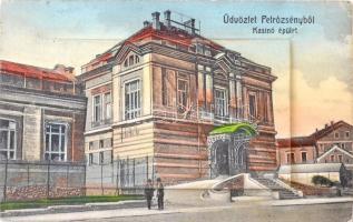 Petrozsény, Petrosani; Kaszinó épület, vasútállomás, pályaudvar, leporellólap / Casino building, railway station, leporellocard (kis szakadás / small tear)