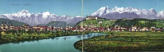 Ljubljana, Laibach; panoramacard Mob. Spital des ung. rot. Kreuzes stamp
