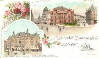 1898 Budapest, Népszínház, MÁV nyugdíjintézet palotája Drechsler vendéglő és kávéház floral, F. Schmuck litho