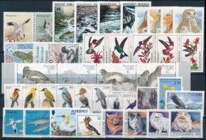 1992-1995 Állat motívum 40 db klf bélyeg, közte teljes sorok, összefüggések stecklapon