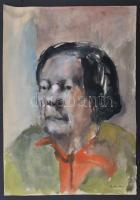 Barta jelzéssel: Női portré. Akvarell, papír, 39×23 cm