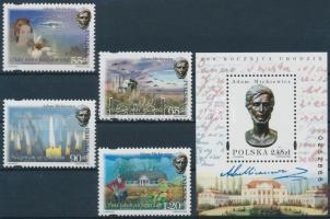 1998 Adam Mickiewicz sor Mi 3737-3740 + blokk Mi 134