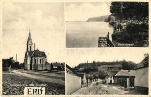 Érd, Újfalusi római katolikus templom, Duna, Vizitácios zárda, utcakép (Rb)