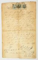 1864 Pest, Német nyelvű kötelezvény 50+7+6 kr okmánybélyeggel