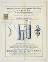 1903 Rheinische Gesellschaft für autogene Metallarbeitung ábrákkal illusztrált prospektus 30fillér okmánybélyeggel