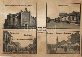 Storoschynez, Storozynetz; Synagogue, market square, savings bank,  municipal authorities, credit club, K.u.K. district court (vágott / cut)