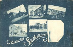 Szabadka, Subotica; iskola, postahivatal / school, post office, decorated postcard (EK)