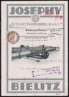 1934 Bielitz Maschinenfabrik&Eisengiesserei Josephy - Elektroselfaktor ábrákkal illusztrált prospektus 30fillér okmánybélyeggel