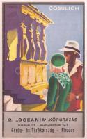 cca 1930 A Cosulich Line 2. Oceania körutazása Görögország, Törökország és Rhodos útirányban. F. Romoli szignós reklám kiadvány térképpel / Hungarian oceanic cruise advertising brochure