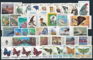 1985-1994 Állat motívum 39 db klf bélyeg, közte teljes sorok, ívszéli értékek stecklapon