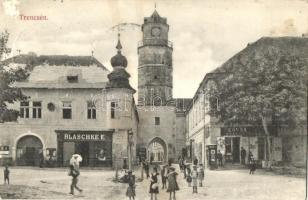 Trencsén, Trencin; Torony utca, Blaschke E. és Köves üzlete / tower, street, shops (felületi sérülés / surface damage)