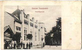Tiszafüred, Takarékpénztár, Makray Kálmán férfi szabó üzlete (vágott / cut)