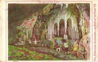 Vienna, Wien II. Prater, Elektrische Grottenbahn zum Walfisch, Der gestiefelte Kater / Electric train in Prater amusement park, Puss in boots, Liliputians, dwarves, grotto (vágott / cut)