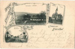 1899 Nemesvölgy, Edelstal; Fő utca, Templom, látkép, Sigmund Reiss kiadása / main street, church, general view, floral Art Nouveau (kis szakadás / small tear)