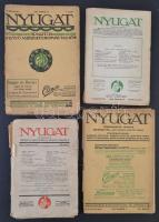 1912-1930 Nyugat folyóirat számok, 4 db (V. évf. 8., 23. XIX. évf. 8 szám, XXIII. évf. 13. sz.), változó, többnyire szakadozott, széteső állapotban.
