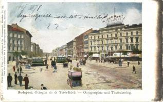 Budapest VI. Oktogon tér és Teréz körút, villamosok, Budapest Képes politikai napilap (kis szakadás / small tear)