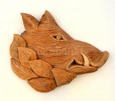 Vaddisznófej, faragott fa fali dísz, 32x26 cm