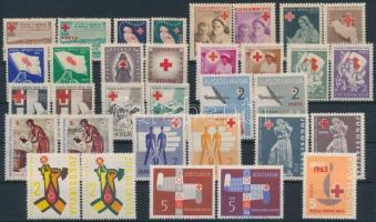 1947-1963 Vöröskereszt motívum kényszerfelár és kényszerfelár portó bélyeg 33 db