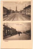 Budapest XIX. Kispest, Üllői út, Fő utca, templom, áruház, kiadja Thienschmiedt E. (EK)