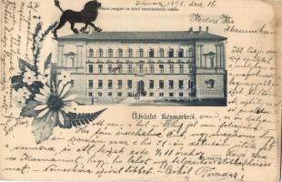 1898 Késmárk, Kezmarok; Állami polgári és felső kereskedelmi iskola / school, floral
