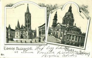 Budapest, Mátyás templom és Bazilika, floral, litho (Rb)