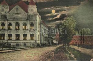 Zsolna, Zilina; Baross otthon este / boarding school at night (EK)