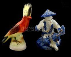 Öreg halász(porcelán) és búbos banka(kerámia), 2 db figura, kézzel festettek, hibátlanok, m: 12 és 13 cm