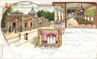 Budapest XIV. Városligeti fővárosi pavillon; Bokor János vendéglője és Weingruber Ignác kávéháza, belső floral, Kosmos litho (EK)