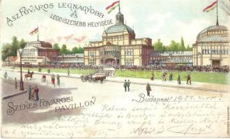 Budapest XIV. Székesfővárosi pavillon; Bokor János vendéglője és Weingruber Ignác kávéháza, Kosmos litho (Rb)