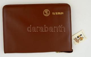 Barna műbőr cipzáros irattartó, Star felirattal, jó állapotban, 37x26 cm