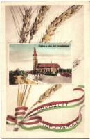 Topolya, Backa Topola; Római katolikus templom, magyar szalagos búzakalász / church, Hungarian ribbon (EK)