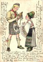Cserkész és népviseletes fiú, Magyar Cserkészszövetség kiadása / Scouting and folklore boy, Hungarian Scouting art postcard s: Márton L. (EK)