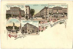 Budapest, Magyar Tudományos Akadémia, Andrássy út, Nemzeti Múzeum, Műegyetem, Petőfi szobor, Carl Otto Hayd Kunstverlag, floral, litho (vágott / cut)