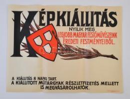cca 1920-1930 Nemzeti Szalon Képkiállítás poszter, kis szakadással, 47x63cm