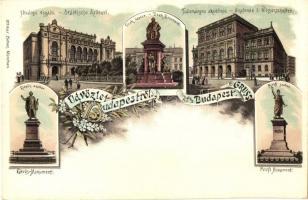 Budapest, Fővárosi Vigadó, Deák, Petőfi és Eötvös szobor, Tudományos Akadémia, floral, litho