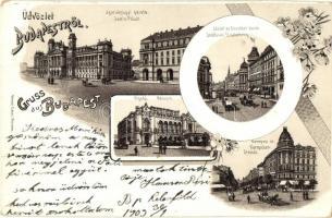 Budapest, Igazságügyi palota, Vigadó, József és Erzsébet körút, Kerepesi út. Ottmar Zieher floral, litho (kopott sarkak / worn corners)