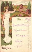 Törley pezsgő, étlap. Kellner és Mohrlüder / Hungarian champagne advertisement with menu, litho art postcard