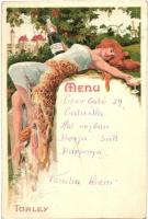 Törley pezsgő, étlap. Kellner és Mohrlüder / Hungarian champagne advertisement with menu, litho art postcard
