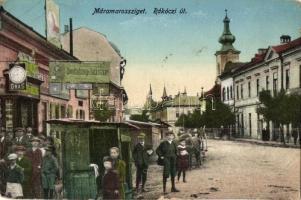 Máramarossziget, Sighetu Marmatiei; Rákóczi út, órás, dohánybolt / street, shops (EK)
