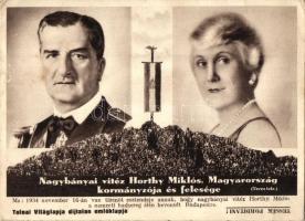 Nagybányai Vitéz Horthy Miklós és Purgly Magdolna; Tolnai Világlapja díjtalan emléklapja (EK)