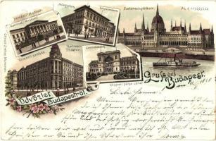 1896 (Vorläufer!) Budapest, Műegyetem, Központi pályaudvar, Nemzeti Múzeum és Színház, floral, litho (kis szakadás / small tear)