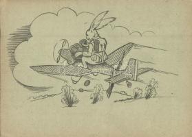2. világháborús honvéd húsvéti üdvözlet, tábori posta levelezőlap, nyúl repülőgéppel, kiadja a M. Kir. állami nyomda / WWII Hungarian military field post, Easter greeting, rabbit on an airplane (EK)